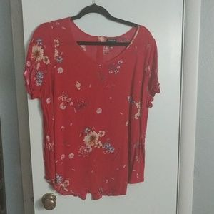 Torrid Red Floral Abbey Shirt